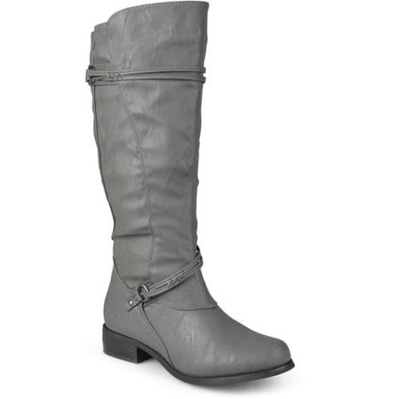 cd8e0d59c3bb Brinley Co. - Women s Extra Wide Calf Knee High Faux Leather Riding Boots -  Walmart.com