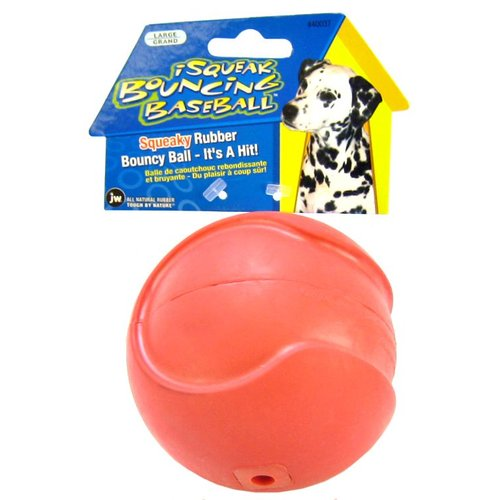 JW Pet iSqueak Bouncing Baseball Rubber Dog Toy