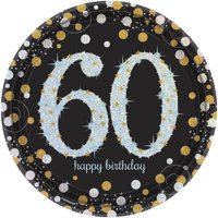 Sparkling Celebration Prismatic 60th Birthday Lunch Plates (8)