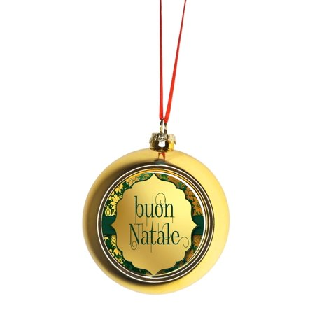 Buon Natale - Merry Christmas in Italian Gold Bauble Christmas Ornament Ball ()
