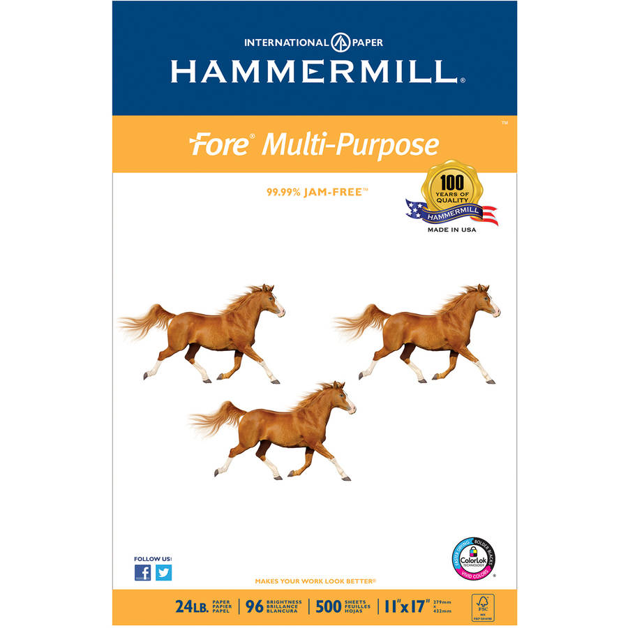 "Hammermill Fore MP White Multipurpose Paper, 96 Bright, 11"" x 17"", 500 Sheets, 1 Ream"