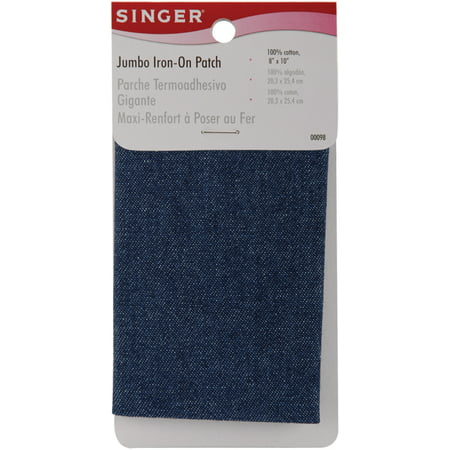 "Iron-On Jumbo Patch 8""X10"" 1/Pkg-Denim"