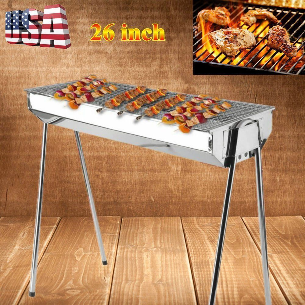 Foldable Barbecue Charcoal Grill Outdoor Portable BBQ Stove Stainless Steel Shish Kabab Barbecue Grill With Folding Legs