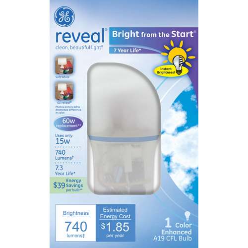 "GE reveal?? Bright from the Start"" CFL 15 watt A19 1-pack"