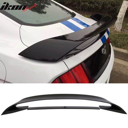 Fits 15-19 Mustang GT350 GT350R Style ABS Trunk Wing Matte Black Lower (2005 Mustang Chin Spoiler)