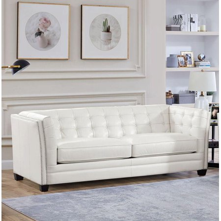 Superb Top Grain Leather White Tufted Sofa Hydeline Cordova Contemporary Modern Machost Co Dining Chair Design Ideas Machostcouk
