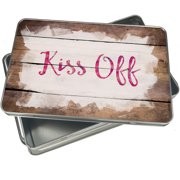 Christmas Cookie Tin Kiss Off Valentine's Day Pink and Purple Watercolor for Gift Giving Empty Candy Snack Pastry Treat Swap Box Cerebrate a Holiday