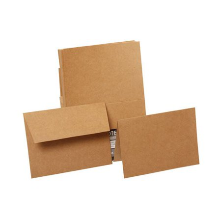 JAM Paper Blank Stationery Set - 4 x 5 1/2 - Brown Kraft Paper Bag (Recycled) - 50 Foldover Cards with 50 Matching Envelopes