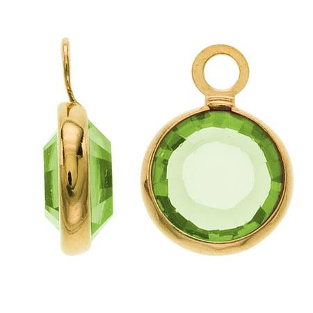 SWAROVSKI ELEMENTS Gold Plated Channel Crystal Charm Peridot 10mm (8)