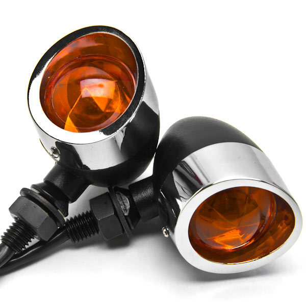 2pc Black / Chrome Motorcycle Turn Signals Lights For Honda VTX 1800 TYPE C R S N F T RETRO - image 2 de 6