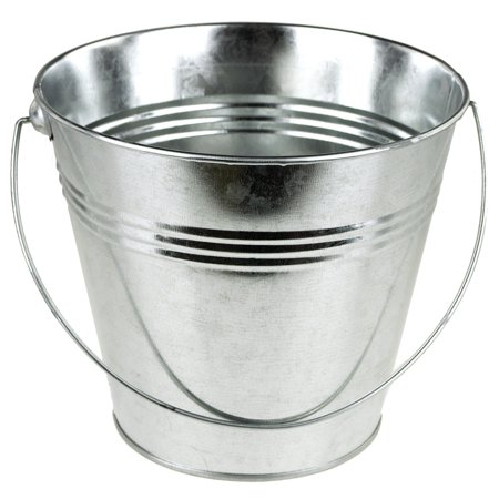 Metal Pail Bucket Party Favor, 7-Inch, Silver - Colored Metal Buckets