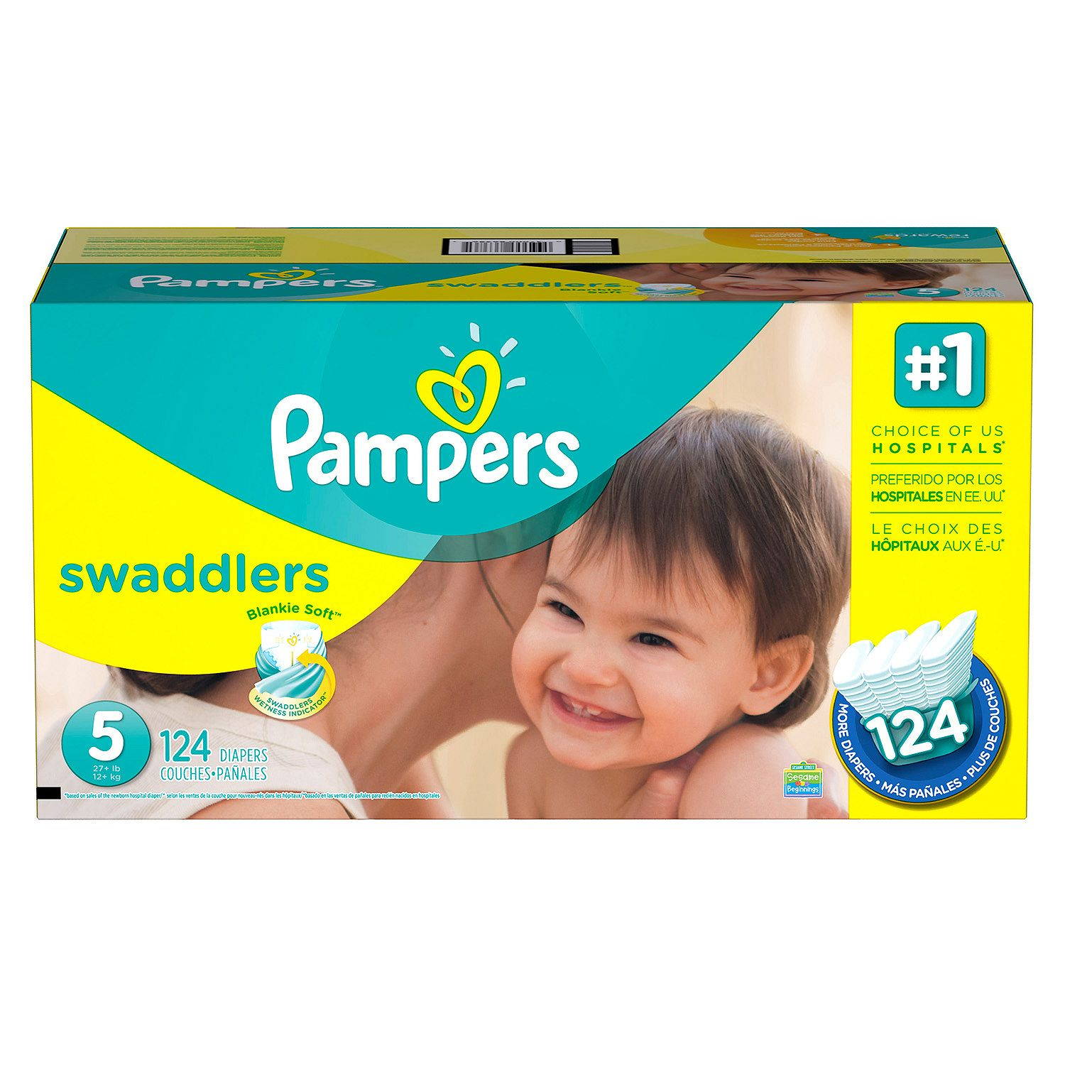 [Best Branded Diapers]-'Pampers' Swaddlers Diapers Economy Pack Size 5 - 124 ct. ( Weight 27+ lb.) - Bulk Qty, Free Shipping - Comfortable, Soft, No licking & Good nite Diapers