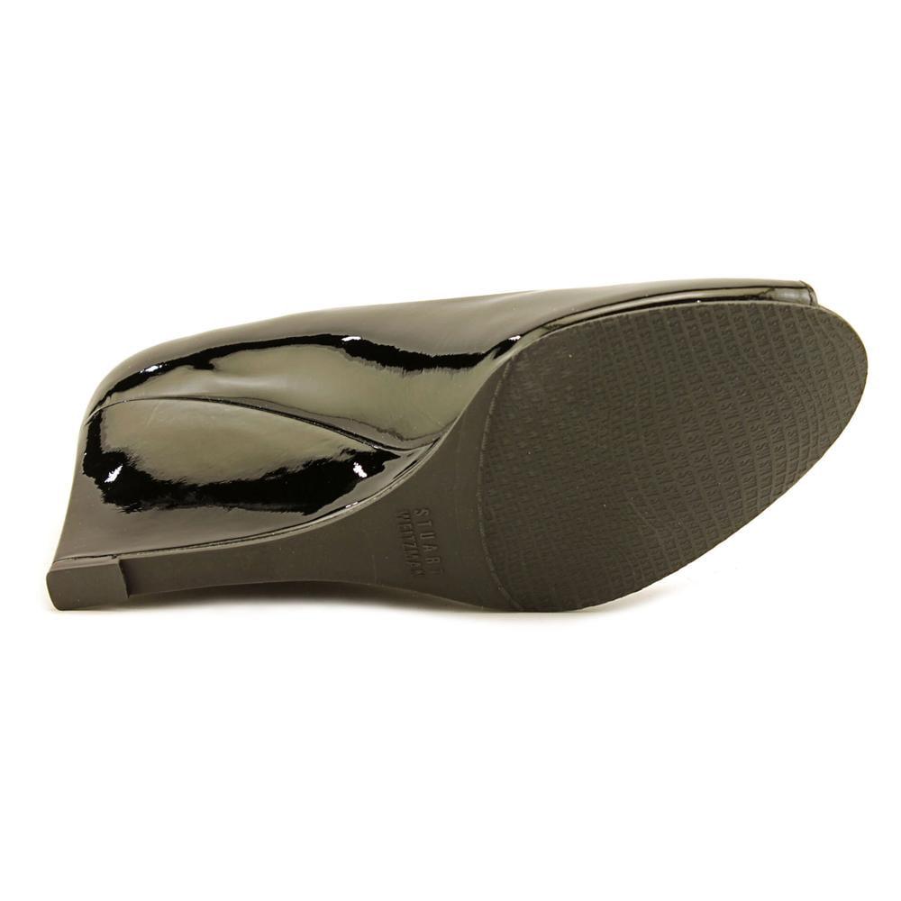 Stuart Weitzman Nuanna Women  Open Heel Toe Synthetic Black Wedge Heel Open a91b17