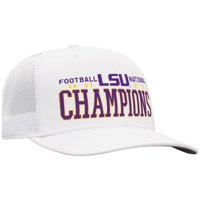 LSU Tigers Top of the World 4-Time Football National Champions High Stack Adjustable Hat - White - OSFA