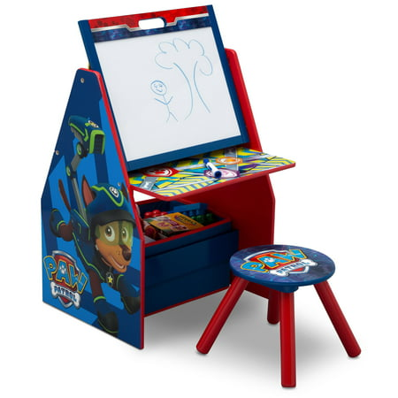 Nick Jr. PAW Patrol Deluxe Kids Art Table, Easel, Desk, Stool & Toy Organizer by Delta Children ()