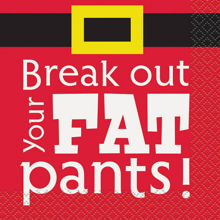 Break Out Your Fat Pants Christmas Cocktail Napkins, Pack of 16](Christmas Paper Products)