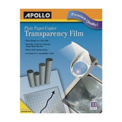 Clear Paper (Apollo® Plain Paper Copier Transparency Film, Black On Clear With Strip, Box Of 100)