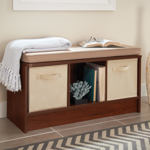 Beautiful ClosetMaid Cubeicals Upholstered Storage Entryway Bench