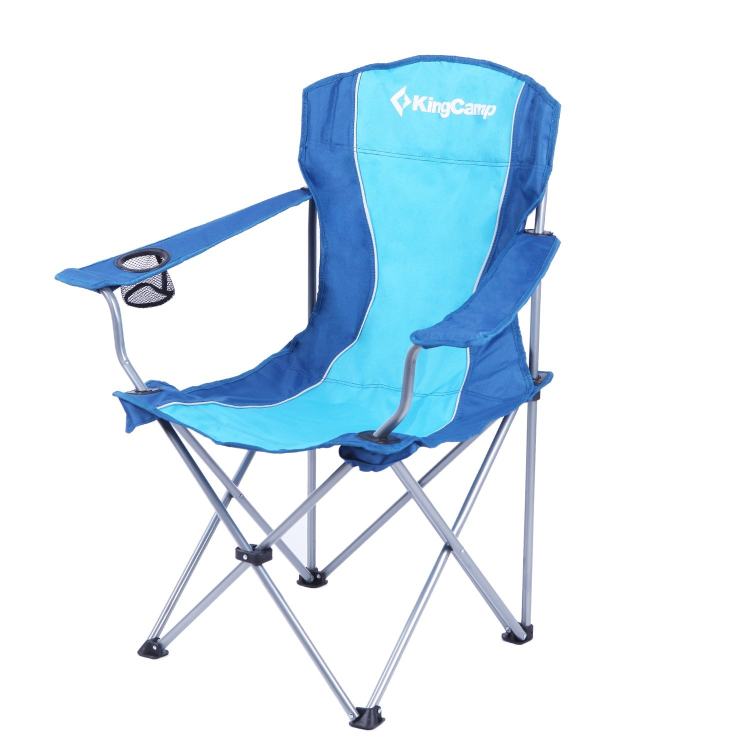 KingCamp Folding Camp Chair Quad Steel Frame Padded With Armrest And Mesh  Cup Holder Oversized Light