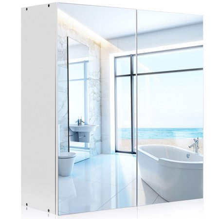 Gymax 24'' Wide Wall Mount Mirrored Bathroom Medicine Storage Cabinet 2 Mirror Door New