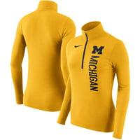 Michigan Wolverines Nike Women's Dry Element Quarter-Zip Pullover Jacket - Maize