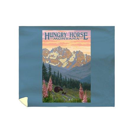 Hungry Horse  Montana   Bear Family   Spring Flowers   Lantern Press Artwork  88X104 King Microfiber Duvet Cover