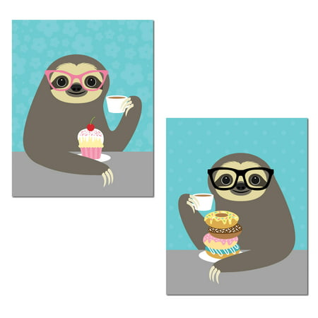 Adorable Cupcake and Donut Eating Hipster Sloth Set; Perfect for Any Kid's Room; Two 11x14in Unframed Paper Poster](Sloth Rental)