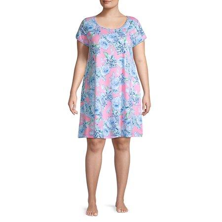Plus Floral-Print Cotton Blend Sleepshirt