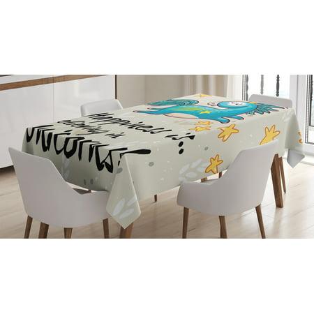 Unicorn Home and Kids Decor Tablecloth, 'Believing Unicorns