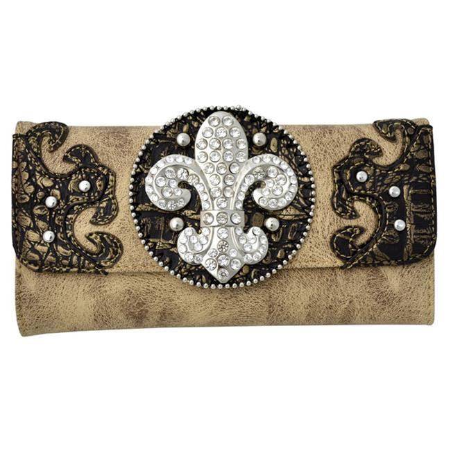 Ritz Enterprises W112 - BRN Rhinestone Fleur De Lis Checkbook Tri-fold Wallet - Brown