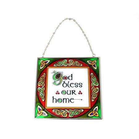 Shamrock Suncatcher (Irish Stained Glass Sun Catcher God Bless Our Home from Ireland)