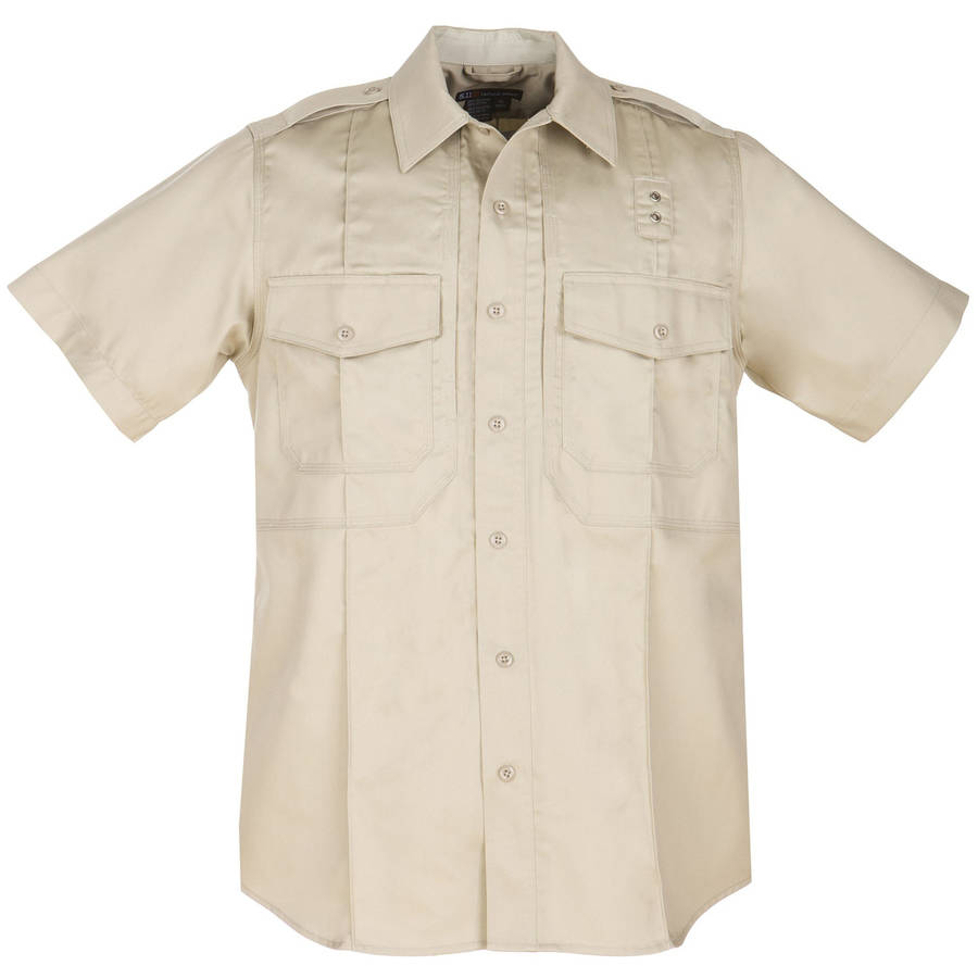 Men's Twill PDU Short Sleeve Class-B Shirt, Silver Tan, Xlarge Regular