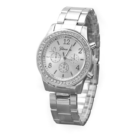 Explosion models Geneva three-eye diamond alloy watch ladies Europe and America steel belt casual jewelry watch wholesale Silver ()