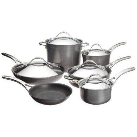 - Anolon Nouvelle Copper 11 Piece Nonstick Cookware Set in Dark Gray