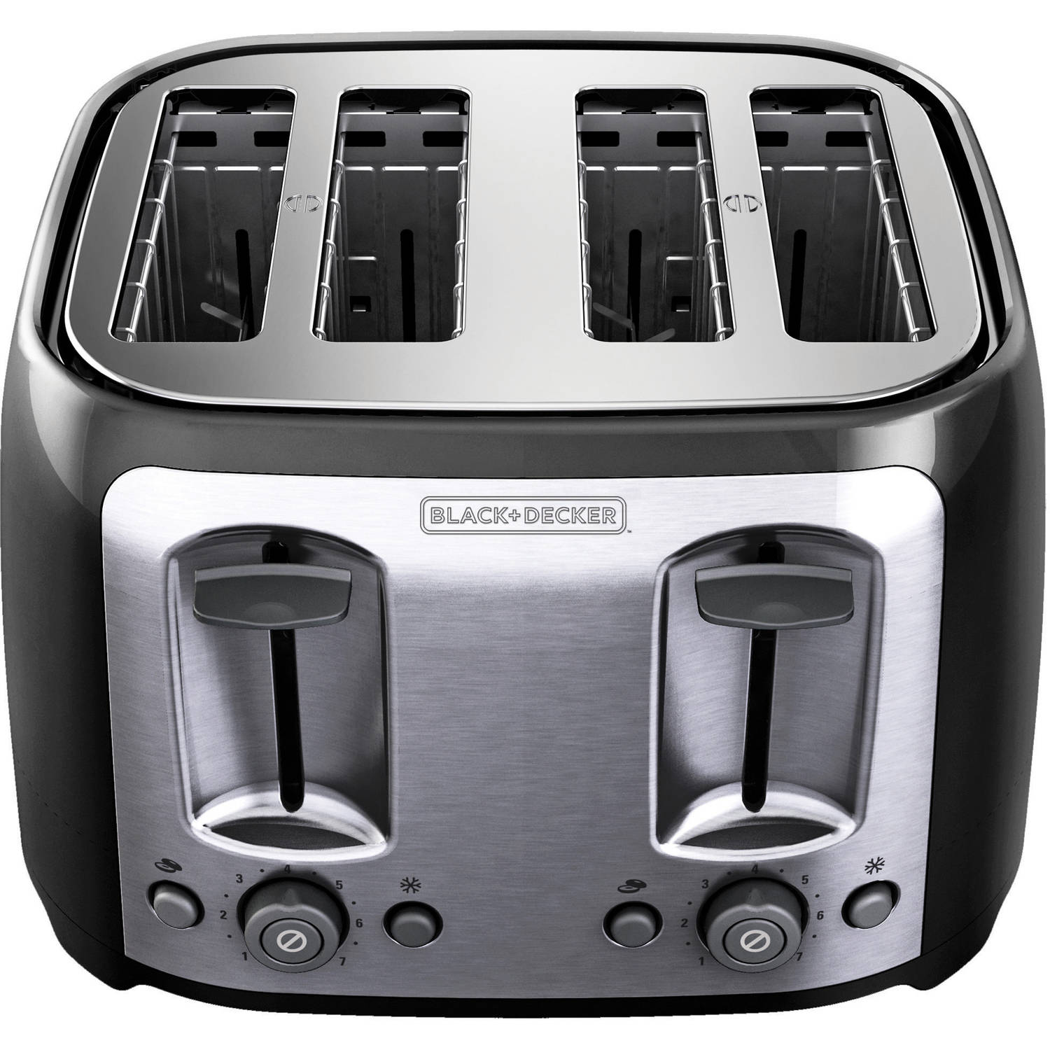 BLACK+DECKER 4-Slice Multi-Function Toaster, Bagel Toaster, Black TR1478BD