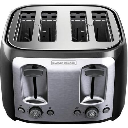 BLACK+DECKER 4-Slice Multi-Function Toaster, Bagel Toaster, Black TR1478BD