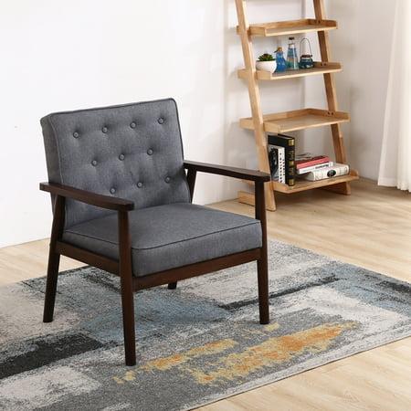 - Zimtown Retro Modern Wooden Lounge Chair Home Furniture