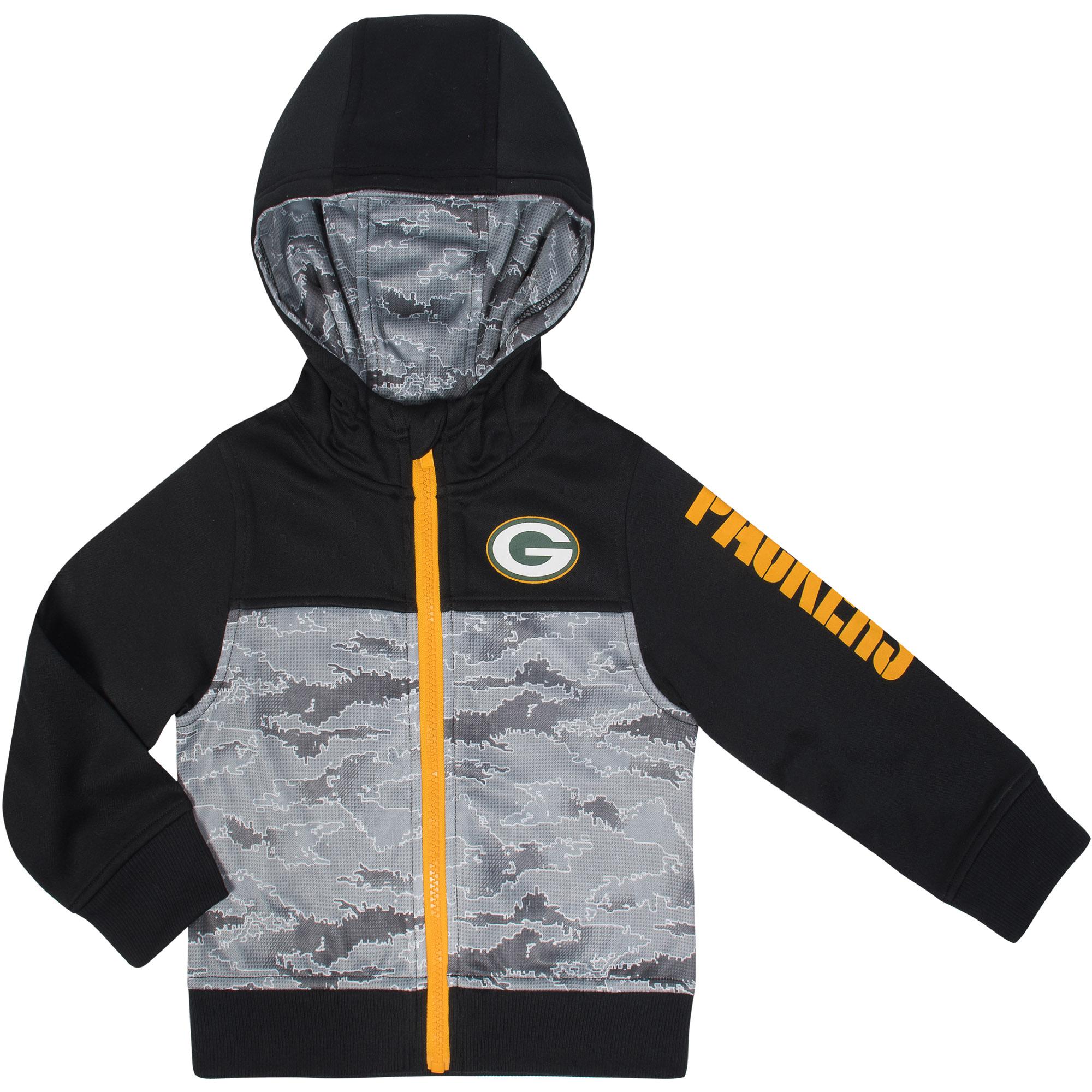 Toddler Gerber Black/Gray Green Bay Packers Team Full-Zip Hoodie