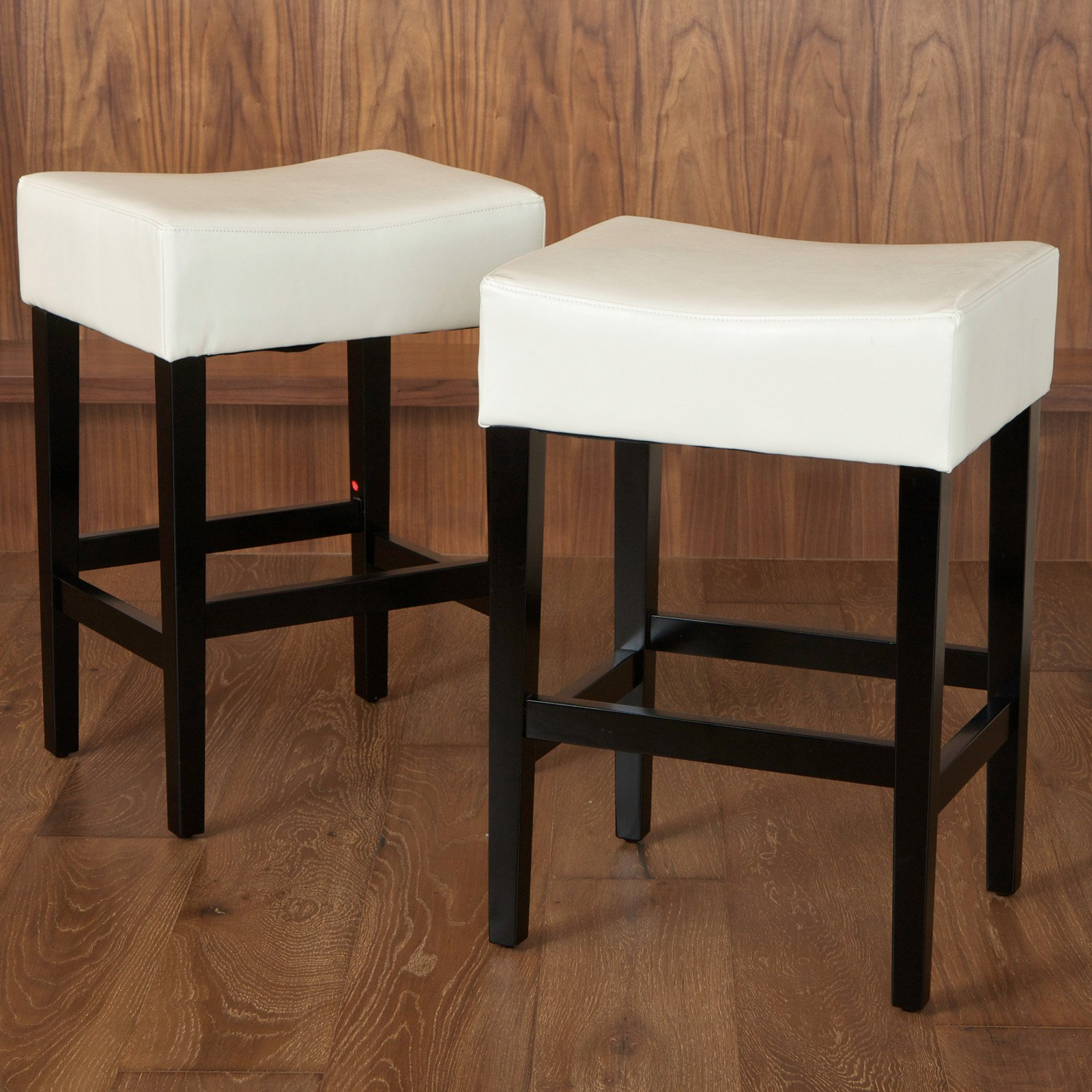Lopez Backless Ivory Leather Counter Stools - 2 Pack