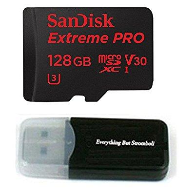 128gb sandisk micro sdxc extreme pro 4k for samsung galaxy s8, s8 plus, s8 note, s7, s7 edge microsd tf flash memory card 128g class 10 with everything but stromboli card reader