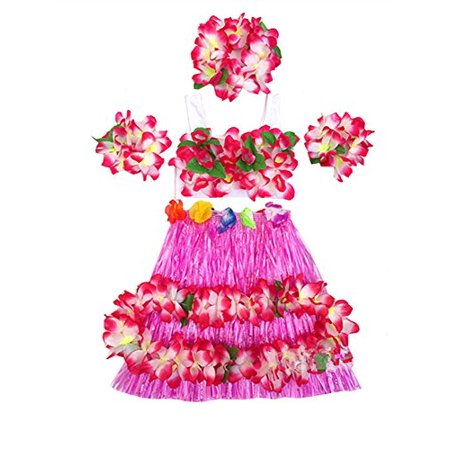 Kids Hula Skirt (Kids Girl's Elastic Hawaiian Hula Dancer Grass Skirt with Top and Hawaiian Flower Costume Set)