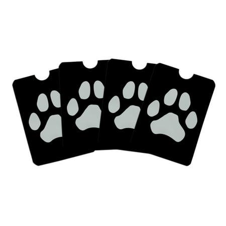 (Paw Print Dog Cat White on Black Credit Card RFID Blocker Holder Protector Wallet Purse Sleeves Set of 4)