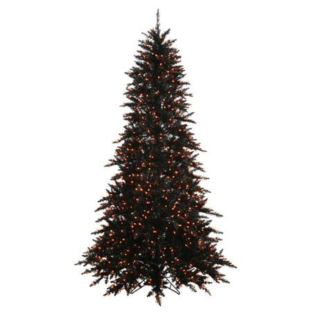 9' Pre-Lit Black Fir Artificial Halloween Christmas Tree - Orange Lights