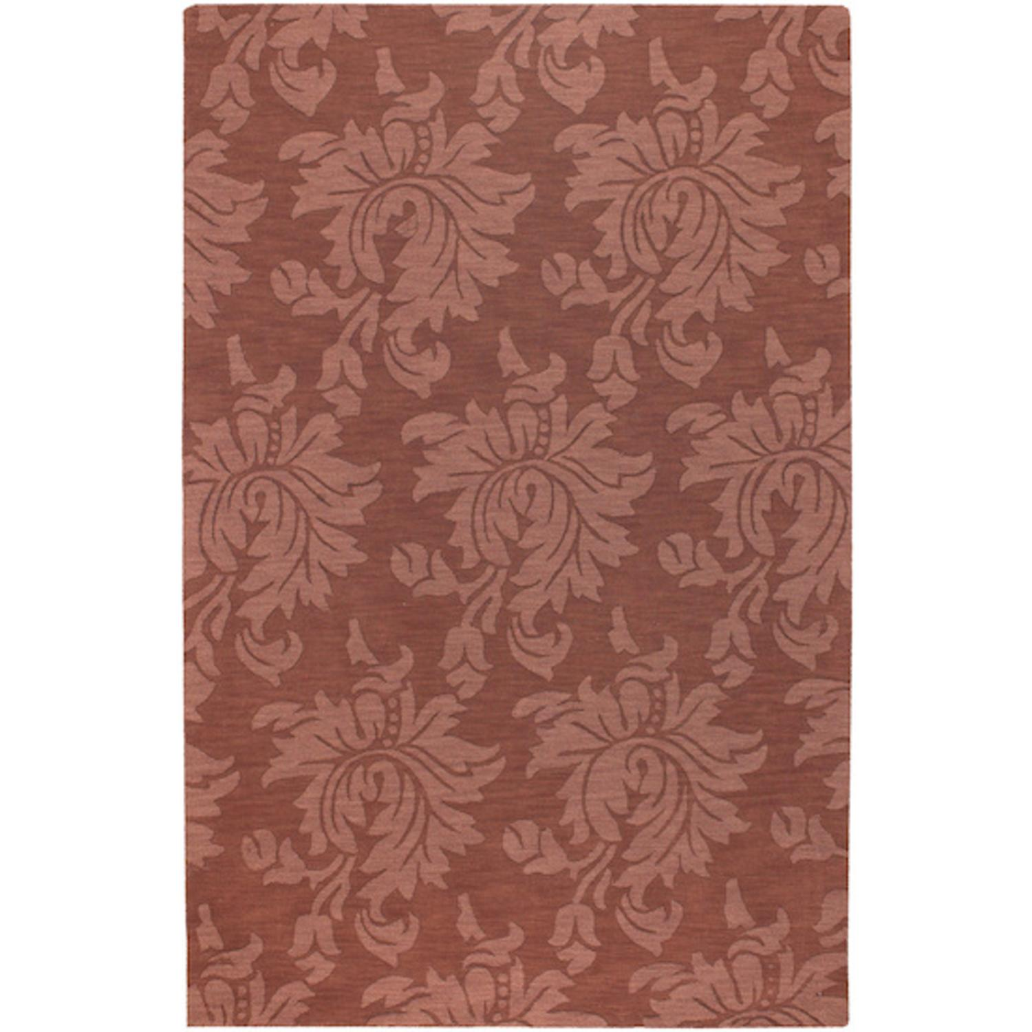 3.25' x 5.25' Giant Flower Foliage Cinnamon Spice Wool Area Throw Rug