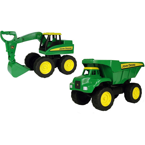 John Deere Big Scoop Excavator and Dump Truck Construction Play Set by TOMY