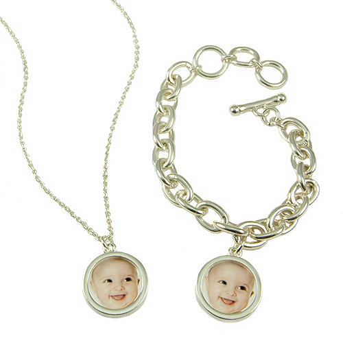 Sterling Silver Plated Round Photo Necklace and Bracelet Set