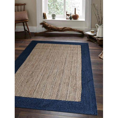 Hand Knotted Oriental Carpet (Rugsotic Carpets Hand Woven Jute 6'x9' Eco-friendly Area Rug Oriental Beige Blue J00026 )