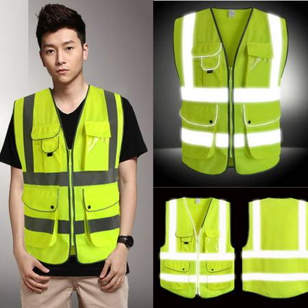5 Pockets Neon Green High Visibility Reflective Multi Construction Safety Vest - Construction Vests