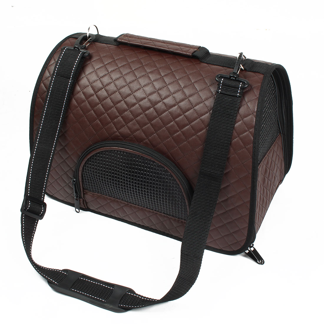 Travel Soft Faux Leather Meshy Double Sided Zipper Pet Puppy Carrier Bag Brown
