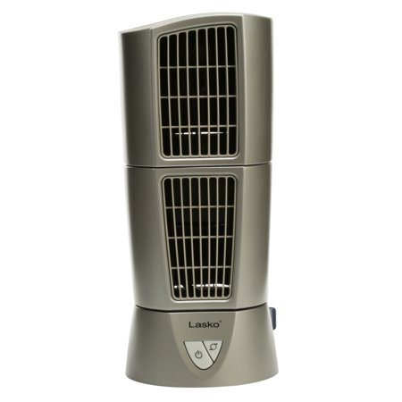 "Lasko 14"" Platinum Desktop Wind Tower Oscillating 3-Speed Fan, Model #4910, Gray"